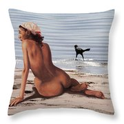 Fine Art Female Nude Multimedia Oil Painting Stacy Sitting Gulf Coast Florida Throw Pillow