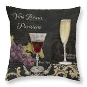 Fine French Wines - Vins Beaux Parisiens Throw Pillow