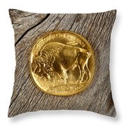 Fine Gold Buffalo Coin On Rustic Wooden Background Throw Pillow