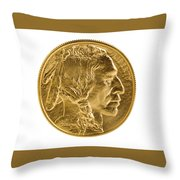 Fine Gold Buffalo Coin On White Background  Throw Pillow