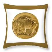 Fine Gold Buffalo Gold Coin On White Background  Throw Pillow