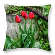 Fine Wine Cafe Red Tulips Throw Pillow
