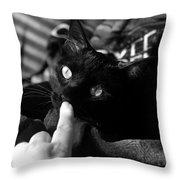 Finger Kiss Cat Throw Pillow