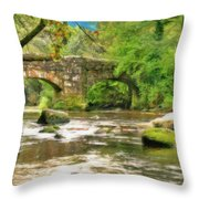 Fingle Bridge - P4a16013 Throw Pillow