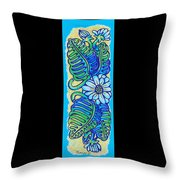 Finished15 Ink Drawing Handtowel Series W Black Background Throw Pillow