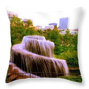 Finlay Park Fountain Summertime Throw Pillow