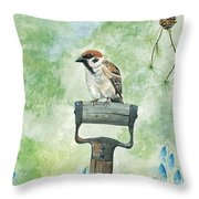 Finnish Dotted Cheek Sparrow Throw Pillow