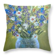 Field Flowers In A Transparent Jug Throw Pillow