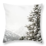 Fir Trees And Mountains Throw Pillow