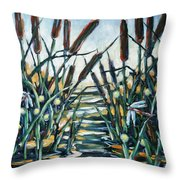 Fire And Dragonflies Throw Pillow