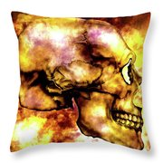 Fire And Skull Throw Pillow