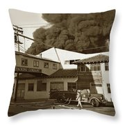 Fire At Cannery Row, Custom House Packing Company Sea Beach Cannery 1953 Throw Pillow