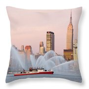Fire Boat And Manhattan Skyline I Throw Pillow