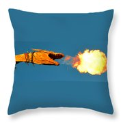 Fire Breathing Dragon Pano Work Throw Pillow