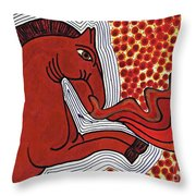Fire Breathing Horse Throw Pillow