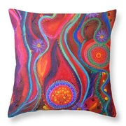 Fire Engine Red Explosion Throw Pillow by Daina White