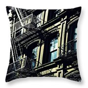 Fire Escape On Franklin Street 2 Throw Pillow
