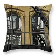 Fire Escape On Franklin Street Throw Pillow