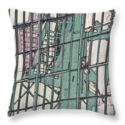 Fire Escape Reflection Throw Pillow