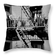 Fire Escape With Clothes Hung To Dry Throw Pillow