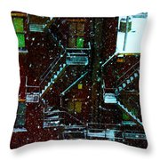 Fire Escapes In The Snow Throw Pillow