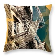 Fire Escapes In White And Gold Throw Pillow