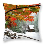 Fire Fog And Snowy Fence Throw Pillow