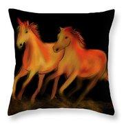Fire Horses Throw Pillow