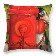 Fire Hydrant Dog Throw Pillow