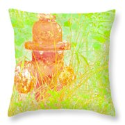 Fire Hydrant Watercolor Throw Pillow