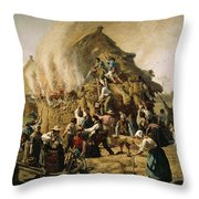 Fire In A Haystack, 1856 Throw Pillow