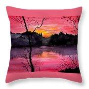 Fire In The Sky    Lake Arrowhead Maine Throw Pillow