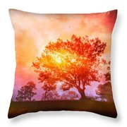 Fire In The Trees Throw Pillow