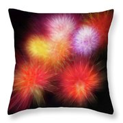 Fire Mums Floral - Fireworks Collage Throw Pillow
