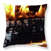 Fire On Wood Throw Pillow
