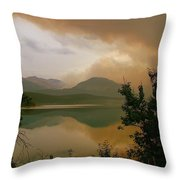 Fire Over St Mary Lake Throw Pillow