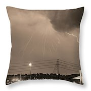 Fire Rescue Station 67  Lightning Thunderstorm Sepia Black And W Throw Pillow
