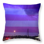 Fire Rescue Station 67  Lightning Thunderstorm With Usa Flag Throw Pillow