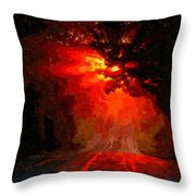 Fire Road Throw Pillow
