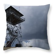 Fire Tower On Bald Mountain Surrounded Throw Pillow
