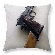 Firearms 1917 Colt Model 1911 Semi Auto 45cal With Shoulder Stock Throw Pillow