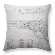 Firearms Lever Action Rifle Drawing Throw Pillow