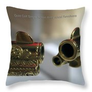 Firearms Pair Of Gold Colt Single Action Army 45cal Revolvers Throw Pillow