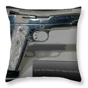 Firearms Smith And Wesson 1911 Semi Auto 45cal Pearl Handle Pistol Throw Pillow