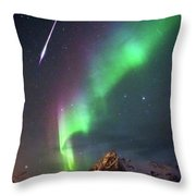 Fireball In The Aurora Throw Pillow