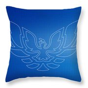 Firebird Blueprint Throw Pillow