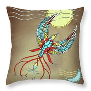 Firebird With Sun And Moon Throw Pillow