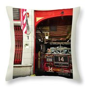 Firefighters Of New York - Engine Sweet 14 - Closeup Throw Pillow