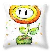Fireflower Watercolor Throw Pillow