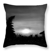 Firefly Frenzy In Black And White Throw Pillow